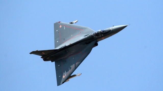 "The Tejas has left the hangar! (Photo: Twitter @<a href=""https://twitter.com/indiannavy"">indiannavy</a>)"