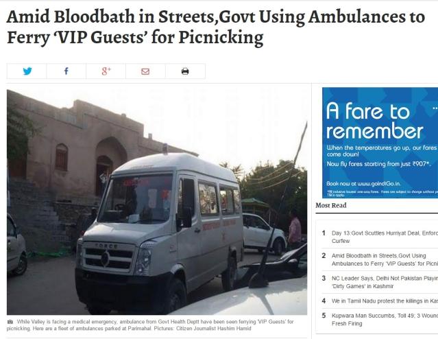 "A shocking headline in the <i>Kashmir Observer</i>. (Photo: Screenshot/<a href=""https://kashmirobserver.net/2016/local-news/amid-bloodbath-streetsgovt-using-ambulances-ferry-vip-guests-picnicking-8686""><i>Kashmir Observer</i></a>)"