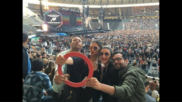 "Deepika Padukone and Alia Bhatt at the Coldplay concert with director Shakun Batra (Photo Courtesy: <a href=""https://twitter.com/search?f=images&vertical=news&q=deepika%20coldplay&src=typd"">Twitter/@DeepikaPFC</a>)"