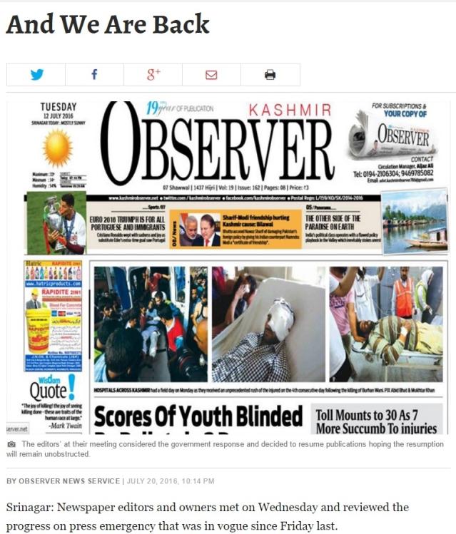 "The <i>Kashmir Observer</i> announces its return. (Photo: Screenshot/<a href=""https://kashmirobserver.net/2016/local-news/and-we-are-back-8684""><i>Kashmir Observer</i></a>)"