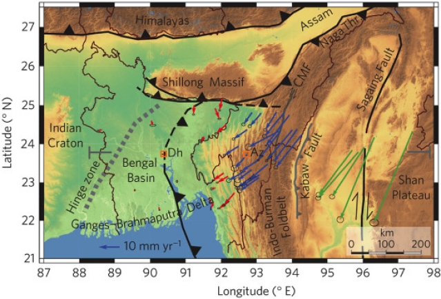 """Topographic map of the Ganges–Brahmaputra Delta and Indo-Burman Foldbelt showing GPS velocities. Plate boundaries and major faults are shown in black and grey, respectively. (Photo Courtesy: Indiaspend/<a href=""""http://www.nature.com/ngeo/journal/vaop/ncurrent/fig_tab/ngeo2760_F1.html"""">Michael Steckler et al)</a>"""