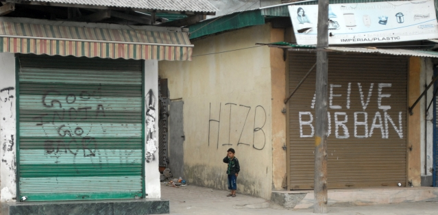 Since Hizbul commander, Burhan Muzaffar Wani's death in an encounter on 8 July 2016, such graffiti have found ample space in the curfewed alleys of Kashmir. (Photo Courtesy: Nisar Dharma)