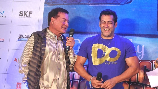 Salim Khan with Salman Khan at a <i>Bajrangi Bhaijaan</i> event. (Photo: Yogen Shah)