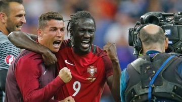 Portugal's Cristiano Ronaldo, left, and Eder celebrate at the end of the Euro 2016 final . (Photo: AP)