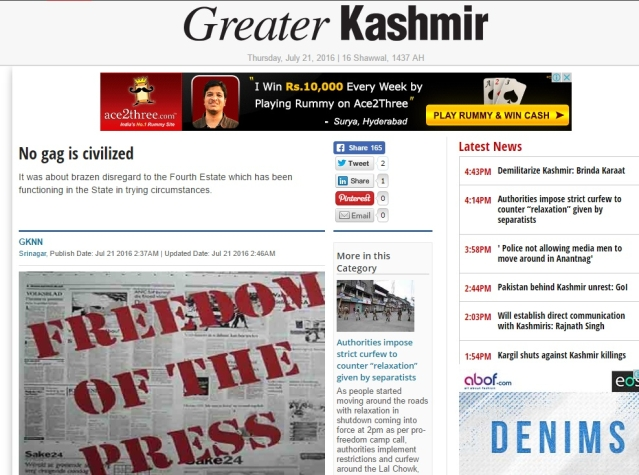 """A piece in the <i>Greater Kashmir </i>criticising the media ban. (Photo: Screenshot/<a href=""""http://www.greaterkashmir.com/news/front-page/no-gag-is-civilized/223391.html""""><i>Greater Kashmir</i></a><i>)</i>"""