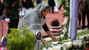 Bangladesh Prime Minister Sheikh Hasina pays tribute to the victims of the tragedy. (Photo: AP)