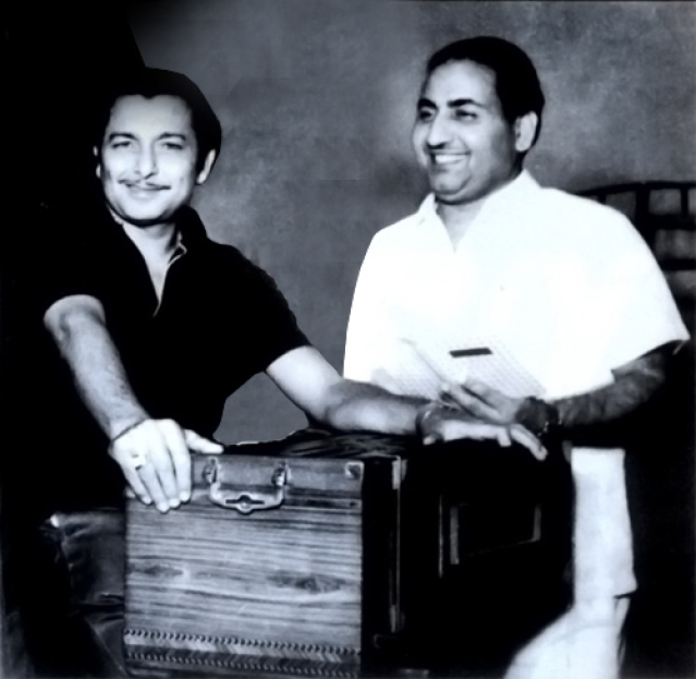 Madan Mohan with Mohammed Rafi at a recording session (Photo courtesy: Sanjeev Kohli)