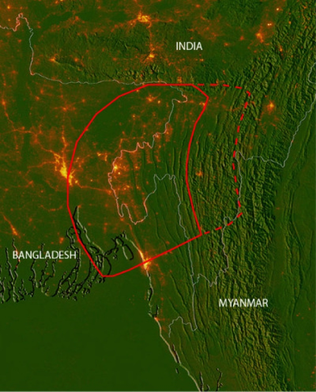 """The red line is the area of the fault, an area of about 24,000 square miles, which could jerk in the event of an earthquake. An earthquake would likely start at the deep eastern end and grow to the west. (Photo Courtesy: Indiaspend/<a href=""""http://www.indiaspend.com/cover-story/india-bangladesh-and-myanmar-face-big-quake-threat-99557"""">Christopher Small and Michael Steckler</a>)"""