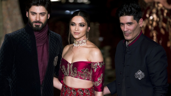 Deepika Padukone , Fawad Khan and Manish Malhotra on the first day of the fashion week. (Photo : AP)