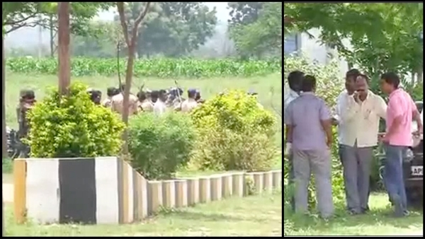 Telangana police officials during the encounter in Shadnagar on Monday, 8 August 2016. (Photo Courtesy: ANI/altered by <b>The Quint</b>)