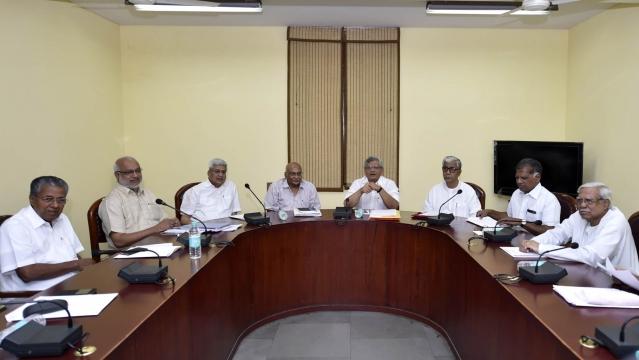 CPI(M) General Secretary Sitaram Yechury, Kerala Chief Minister Pinarayi Vijayan,  party leader Prakash Karat and others  during a Politburo meeting, New Delhi, 29 May, 2016. (Photo: IANS)