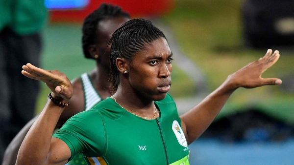 South Africa's Caster Semenya celebrates winning the gold medal in the women's 800-meter final.