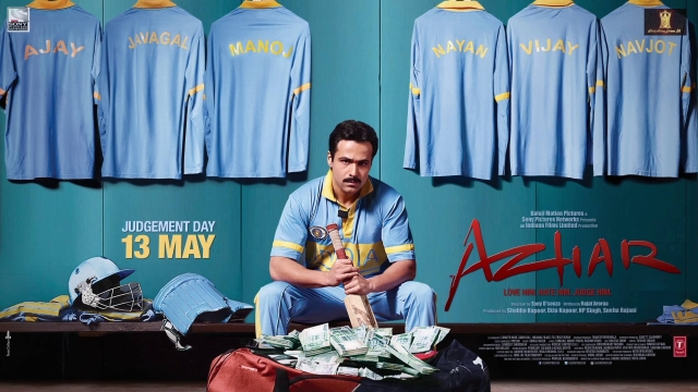 Emraan Hashmi on the poster of <i>Azhar </i>produced by Sony Pictures Networks and Balaji Motion Pictures.