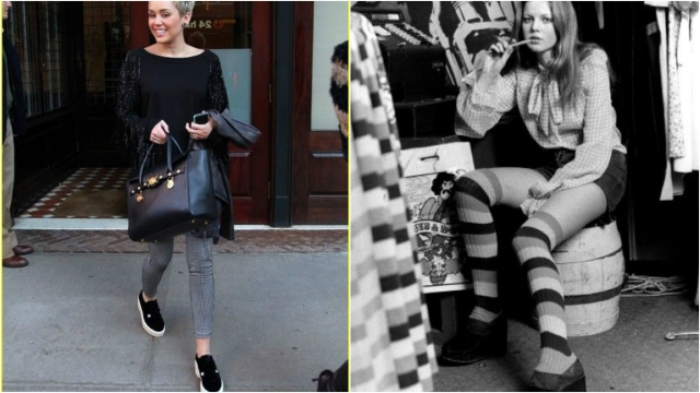 Miley Cyrus (left), long stockings often accompanied platform shoes in the past. (Photo Courtesy: Pinterest.com)