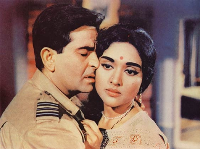 Vyjayanthimala with Raj Kapoor in a still from <i>Sangam</i>.