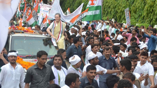 Congress President  Sonia Gandhi during a roadshow in Varanasi on  2 August, 2016. (Photo: IANS)