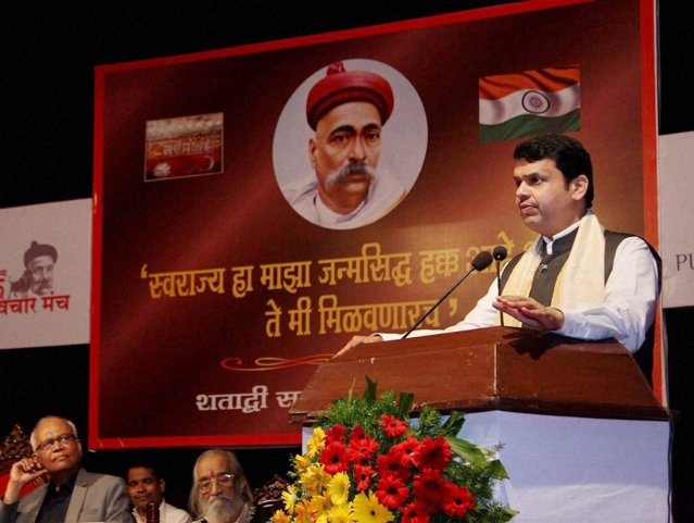 Maharashtra Chief Minister Devendra Fadnavis addressing at Bal Gangadhar Tilak's 160th birth anniversary function in Pune. (Photo: PTI)