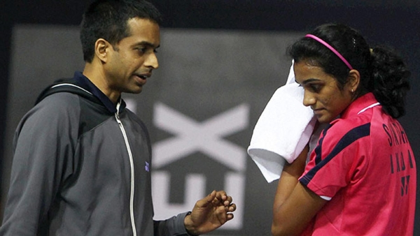Coach Pullela Gopichand with PV Sindhu.
