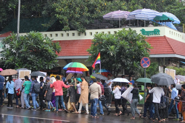 Pride March passing in front of famous Vaishali restaurant, which is an <i>adda</i> of young Punekars. (Photo: Ashish Dikshit)