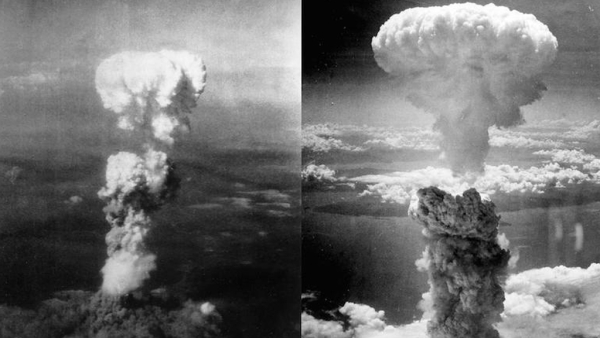 The mushroom clouds at Hiroshima (Left) on 6 August 1945 and Nagasaki on 9 August 1945. (Photo: Altered by <b>The Quint</b>)