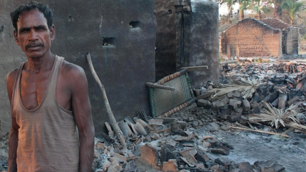 The village in Chhattisgarh lies burnt and damaged, March 2011. (Photo: Aman Sethi)
