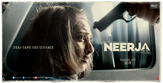 Sonam Kapoor on the poster of <i>Neerja </i>produced by Fox Star Studios.