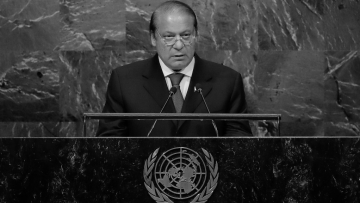 Pakistani Prime Minister Nawaz Sharif at the United Nations General Assembly (UNGA).