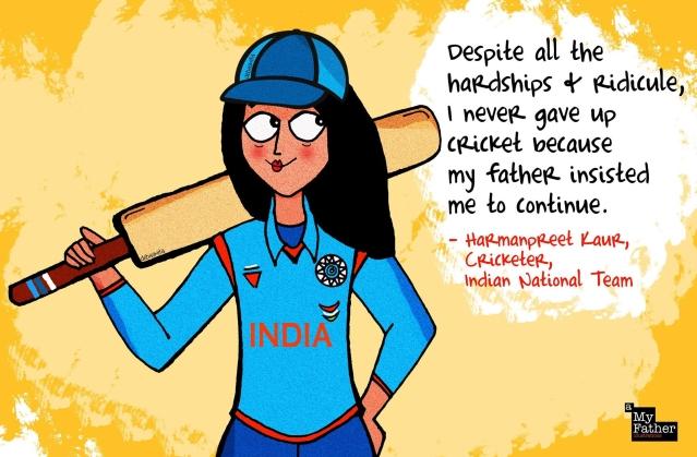 "Harmanpreet Kaur, Indian cricket player. (Photo: Facebook @<a href=""https://www.facebook.com/myfatherIllustrations/"">MyFatherIllustrations</a>)"
