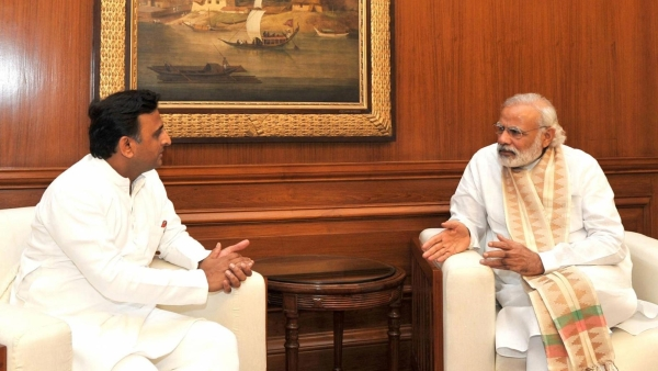 File photo of Uttar Pradesh Chief Minister Akhilesh Yadav with Prime Minister Narendra Modi. (Photo: IANS)