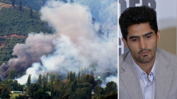 Smoke rises out of the Uri army base camp after the attack (L); boxer Vijender Singh. (Photo: Altered by <b>The Quint</b>)