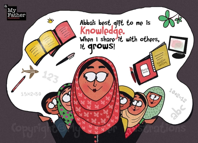 """Sabah Haji, who runs a school in a remote village of Jammu and Kashmir, where people travel for hours to enroll their children. (Photo: Facebook @<a href=""""https://www.facebook.com/myfatherIllustrations/"""">MyFatherIllustrations</a>)"""
