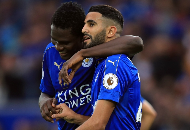 Leicester City's Daniel Amartey and Riyad Mahrez celebrate their team's third goal. (Photo: AP)
