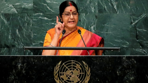 Minister of External Affairs Sushma Swaraj addresses the UNGA in the Manhattan borough of New York, US, on 26 September 2016. (Photo: Reuters)