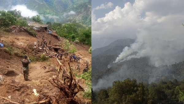 Himachal Pradesh (L)and Uttarakhand (R) are very susceptible to seismicity. (Photo: IANS/Altered by <b>The Quint</b>)