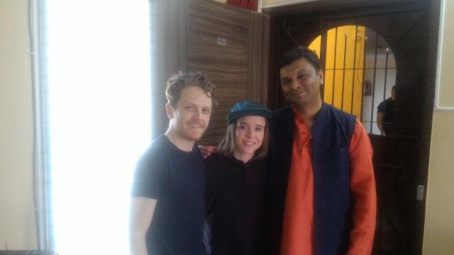 Ian  Daniel, Ellen Page and  Harish Iyer during the shoot. (Photo courtesy: Harish Iyer)