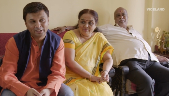 Iyer with his parents during the interview. (Photo courtesy: Viceland)