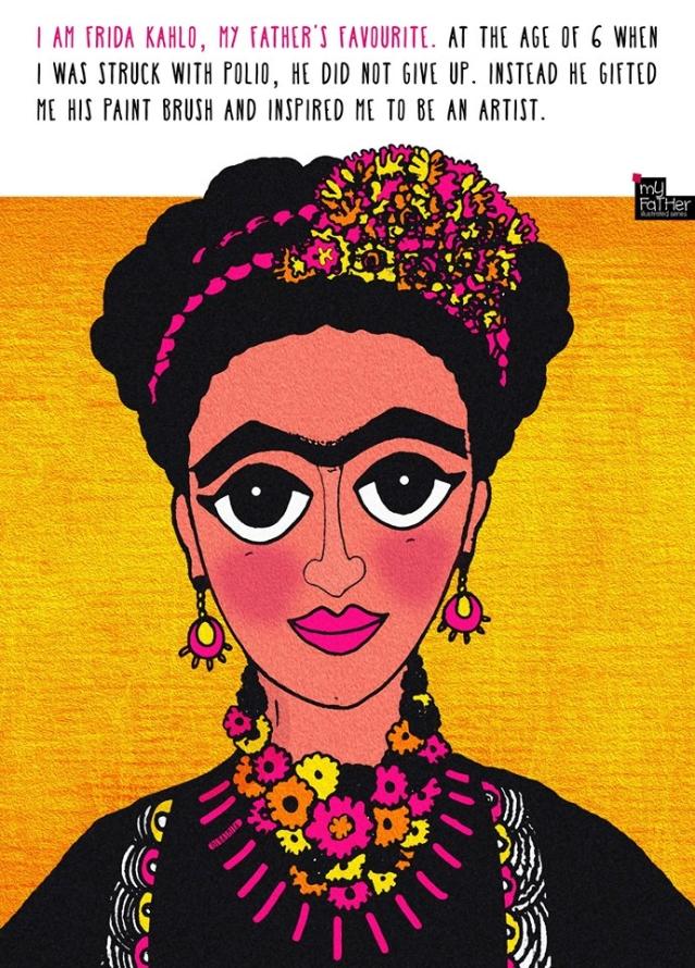 """Freida Kahlo, *needs no introduction*. (Photo: Facebook @<a href=""""https://www.facebook.com/myfatherIllustrations/"""">MyFatherIllustrations</a>)"""