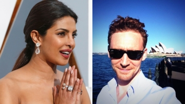 "Priyanka Chopra and Tom Hiddleston (who played Loki in <i>Thor</i>) were pictured together outside the Emmys venue. (Photo Courtesy: Reuters(L); <a href=""https://twitter.com/twhiddleston"">Twitter/TWHiddleston</a> (R))"