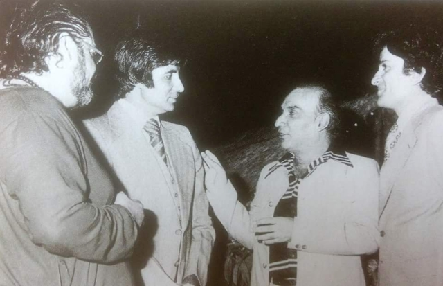 Yash Chopra with Amitabh Bachchan, Shashi Kapoor and Shammi Kapoor. (Photo courtesy: Twitter)