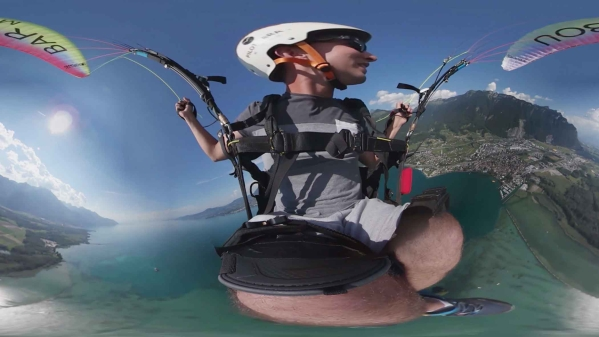 A paragliding practise session caught in camera in 360. (Photo Courtesy: Reuters Focus 360/Screengrab)