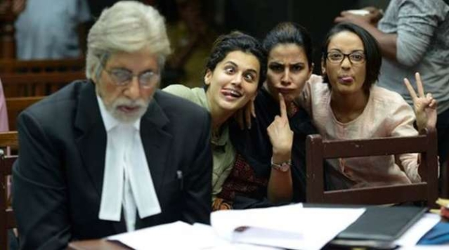 Bachchan is all serious while the <i>Pink </i>girls get goofy. (Photo courtesy: Twitter)