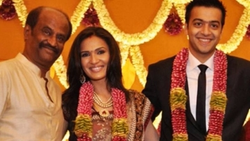 "Rajinikanth with  daughter Soundarya and son-in-law Ashwin Ramkumar at their wedding. (Photo courtesy: <a href=""https://twitter.com/iflickscinema/status/776768888419868672"">Twitter/ iflickscinema</a>)"