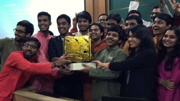 Team 'Pratham' poses with a prototype of the satellite at IIT Bombay. (Photo courtesy: IIT Bombay)