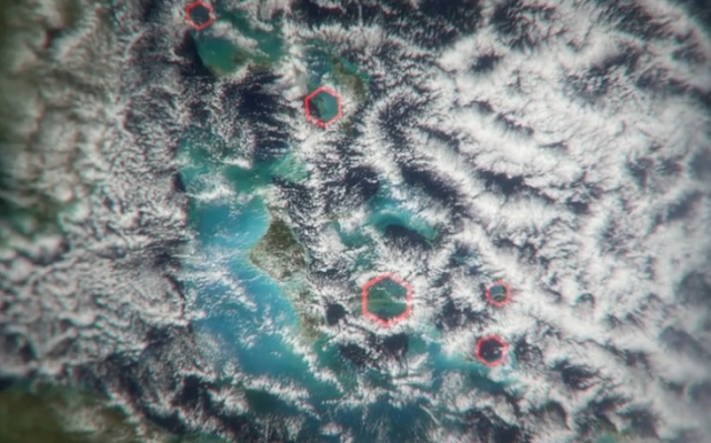 "Hexagonal clouds. (Photo: <a href=""http://www.sciencechannel.com/tv-shows/what-on-earth/what-can-these-hexagonal-shapes-tell-us-about-the-bermuda-triangle/"">Science Channel</a>)"
