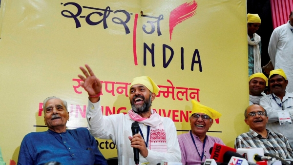 Swaraj Abhiyan leaders Prashant Bhushan, Shanti Bhushan and Yogendra Yadav during a press conference   in New Delhi, 2 October, 2016. (Photo: PTI)