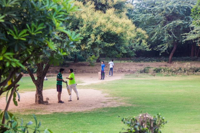 There were at least three groups of people playing cricket that evening. (Photo: Abhilash Mallick/<b>The Quint)</b>
