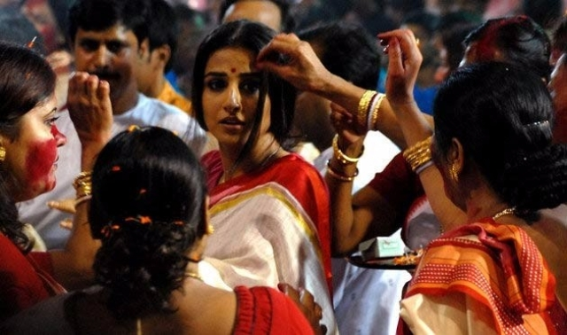 Durga puja plays an important role in the climax of Vidya Balan's <i>Kahaani</i>.