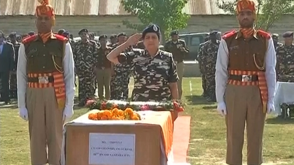 The lone martyr in Friday's attack on SSB team in Zakura was given a final farewell in Sringara in Jammu & Kashmir on Saturday. (Photo: ANI screengrab)