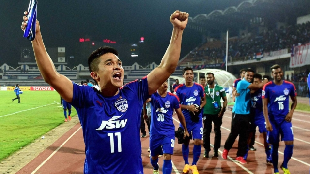 Bengaluru FC captain Sunil Chhetri celebrate the win against Johor Darul TA'ZIM (MAS)  during the AFC Cup 2016 knock-out match at Kanteerava Stadium in Bengaluru.