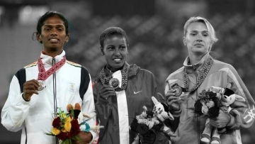 "Santhi was stripped of the silver medal she won at the Doha Asian Games because she failed a gender test. (Photo Courtesy: <a href=""https://www.facebook.com/athleteshanthi/photos/a.596459117085433.1073741827.596456467085698/596459030418775/?type=3&theater"">Facebook/Santhi Soundarajan</a>/Altered by <b>The Quint</b>)"